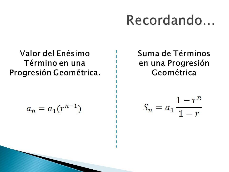 Suma de Términos en una Progresión Geométrica Valor del Enésimo Término en una Progresión Geométrica.
