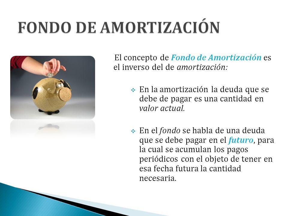 El concepto de Fondo de Amortización es el inverso del de amortización: En la amortización la deuda que se debe de pagar es una cantidad en valor actu