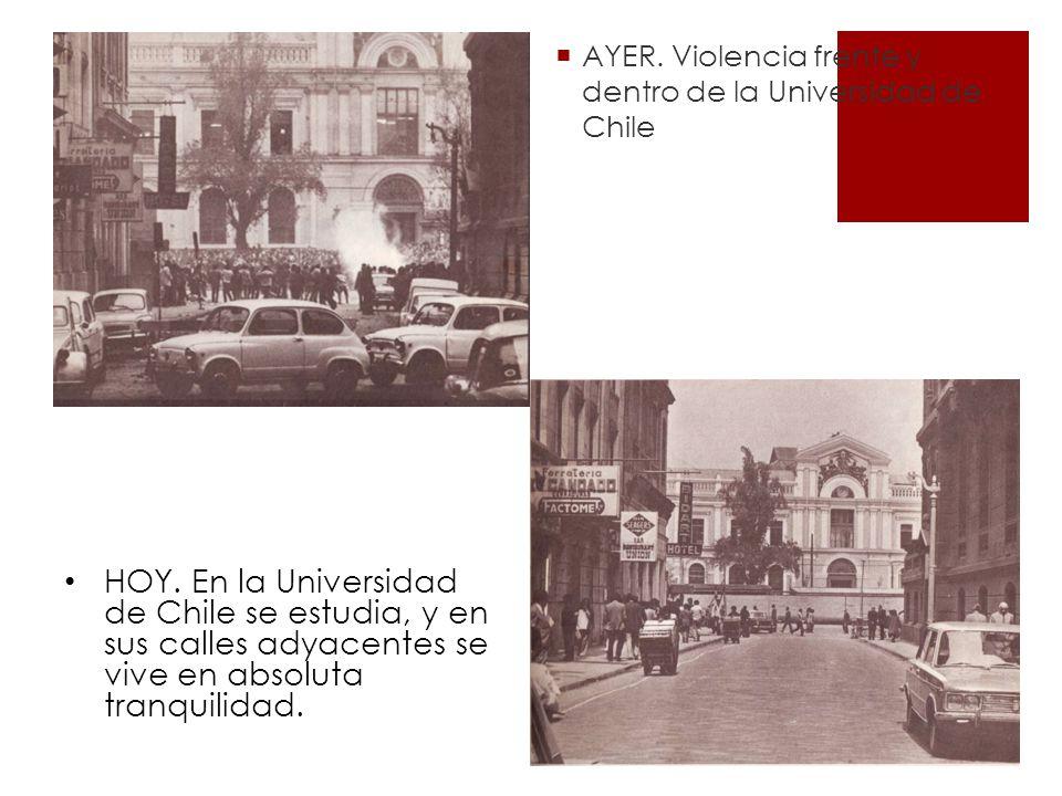 AYER.Violencia frente y dentro de la Universidad de Chile HOY.