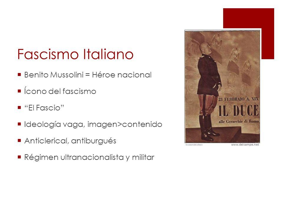 Fascismo Italiano Benito Mussolini = Héroe nacional Ícono del fascismo El Fascio Ideología vaga, imagen>contenido Anticlerical, antiburgués Régimen ultranacionalista y militar