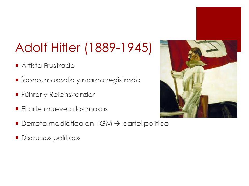 Adolf Hitler (1889-1945) Artista Frustrado Ícono, mascota y marca registrada Führer y Reichskanzler El arte mueve a las masas Derrota mediática en 1GM cartel político Discursos políticos