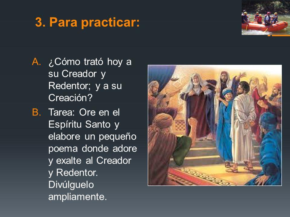 3. Para practicar: A.¿Cómo trató hoy a su Creador y Redentor; y a su Creación? B.Tarea: Ore en el Espíritu Santo y elabore un pequeño poema donde ador