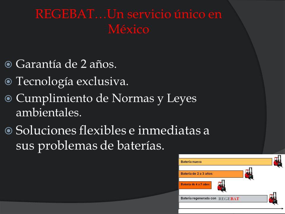 REGEBAT…Un servicio único en México Garantía de 2 años. Tecnología exclusiva. Cumplimiento de Normas y Leyes ambientales. Soluciones flexibles e inmed