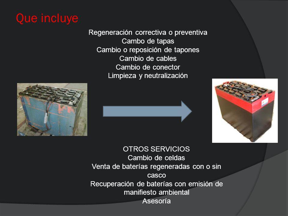 Que incluye Regeneración correctiva o preventiva Cambo de tapas Cambio o reposición de tapones Cambio de cables Cambio de conector Limpieza y neutrali