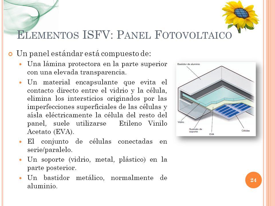 E LEMENTOS ISFV: P ANEL F OTOVOLTAICO Un panel estándar está compuesto de: Una lámina protectora en la parte superior con una elevada transparencia. U