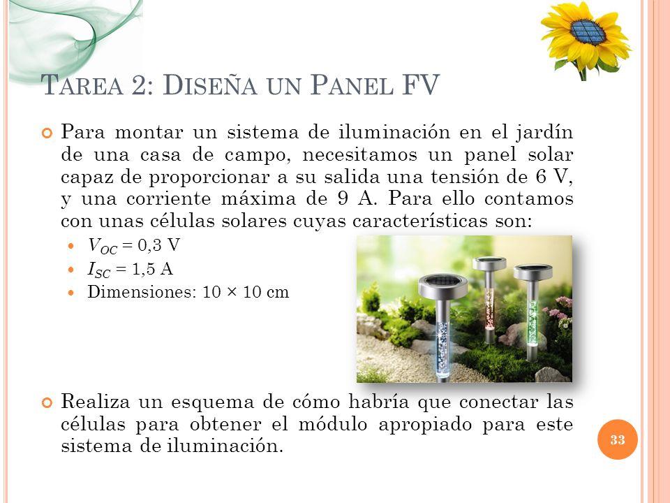 T AREA 2: D ISEÑA UN P ANEL FV Para montar un sistema de iluminación en el jardín de una casa de campo, necesitamos un panel solar capaz de proporcion