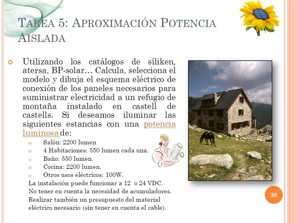 T AREA 5: A PROXIMACIÓN P OTENCIA A ISLADA Utilizando los catálogos de síliken, atersa, BP-solar… Calcula, selecciona el modelo y dibuja el esquema el