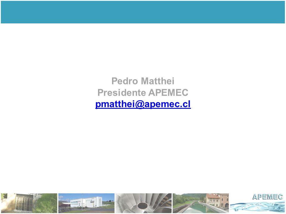 Pedro Matthei Presidente APEMEC pmatthei@apemec.cl