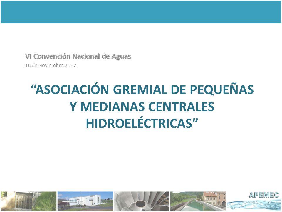 ASOCIACIÓN GREMIAL DE PEQUEÑAS Y MEDIANAS CENTRALES HIDROELÉCTRICAS VI Convención Nacional de Aguas 16 de Noviembre 2012