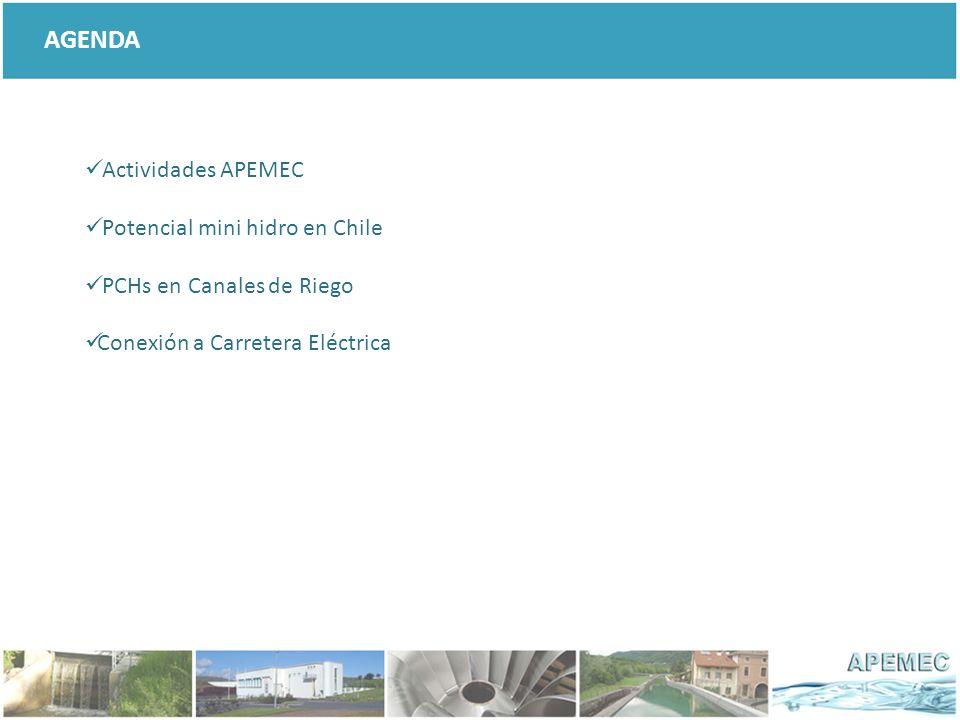 AGENDA Actividades APEMEC Potencial mini hidro en Chile PCHs en Canales de Riego Conexión a Carretera Eléctrica