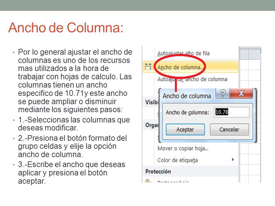 Ancho de Columna: Por lo general ajustar el ancho de columnas es uno de los recursos mas utilizados a la hora de trabajar con hojas de calculo. Las co