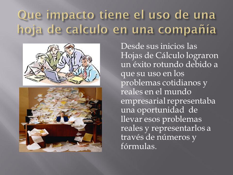 Desde sus inicios las Hojas de Cálculo lograron un éxito rotundo debido a que su uso en los problemas cotidianos y reales en el mundo empresarial repr