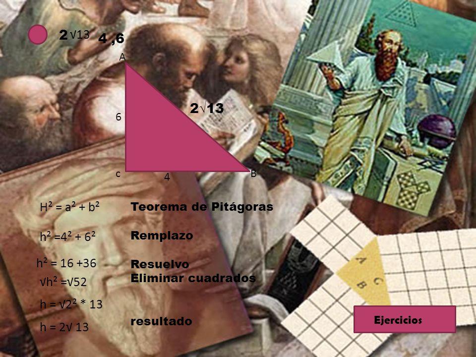 2 13 4,6 A Bc 6 4 213 H² = a² + b² h² =4² + 6² h² = 16 +36 h² =52 h = 2² * 13 h = 2 13 Teorema de Pitágoras Remplazo Resuelvo Eliminar cuadrados resul