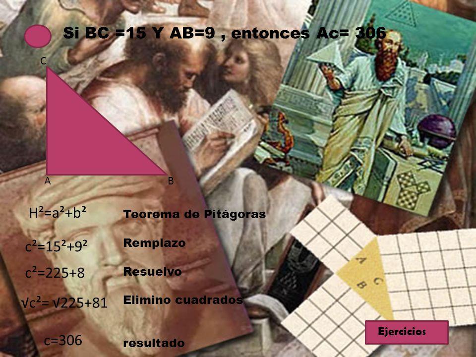 Si BC =15 Y AB=9, entonces Ac= 306 C BA H²=a²+b² c²=15²+9² c²=225+8 c²= 225+81 c=306 Teorema de Pitágoras Remplazo Resuelvo Elimino cuadrados resultad