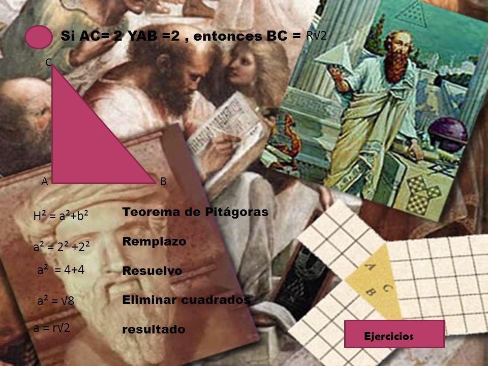 Si AC= 2 YAB =2, entonces BC = R2 A B C H² = a²+b² a² = 2² +2² a² = 4+4 a² = 8 a = r2 Teorema de Pitágoras Remplazo Resuelvo Eliminar cuadrados result
