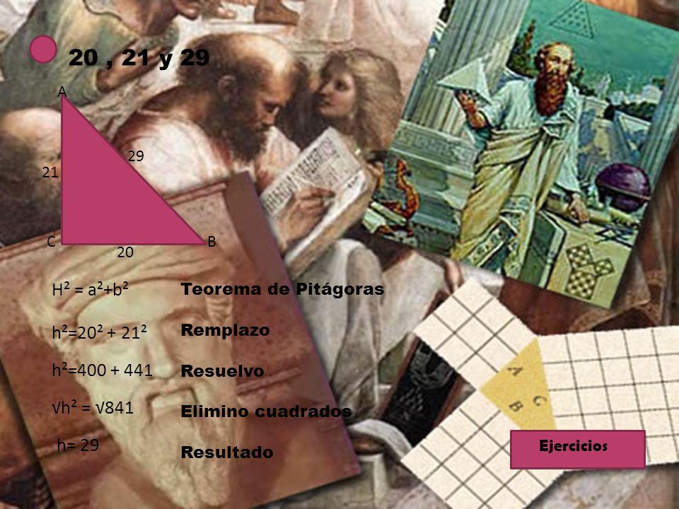 20, 21 y 29 29 B A C 20 21 H² = a²+b² h²=20² + 21² h²=400 + 441 h² = 841 h= 29 Teorema de Pitágoras Remplazo Resuelvo Elimino cuadrados Resultado Ejer