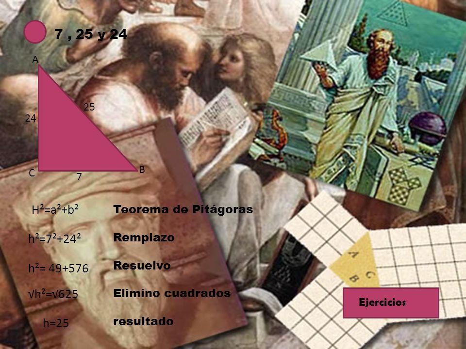 7, 25 y 24 A B C 25 7 24 H²=a²+b² h²=7²+24² h²= 49+576 h²=625 h=25 Teorema de Pitágoras Remplazo Resuelvo Elimino cuadrados resultado Ejercicios