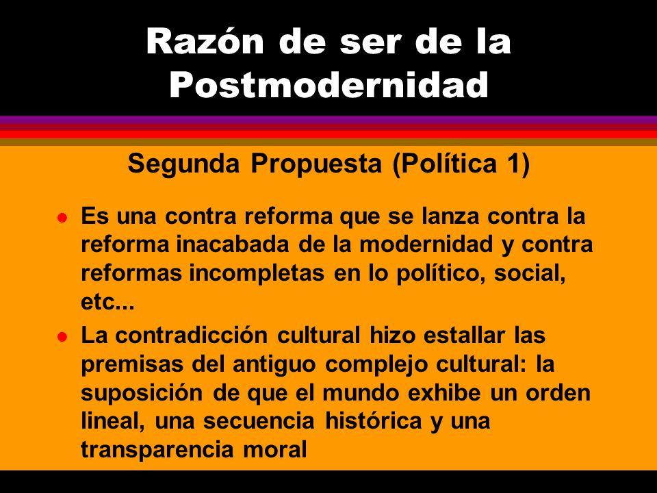 l Es una contra reforma que se lanza contra la reforma inacabada de la modernidad y contra reformas incompletas en lo político, social, etc... l La co