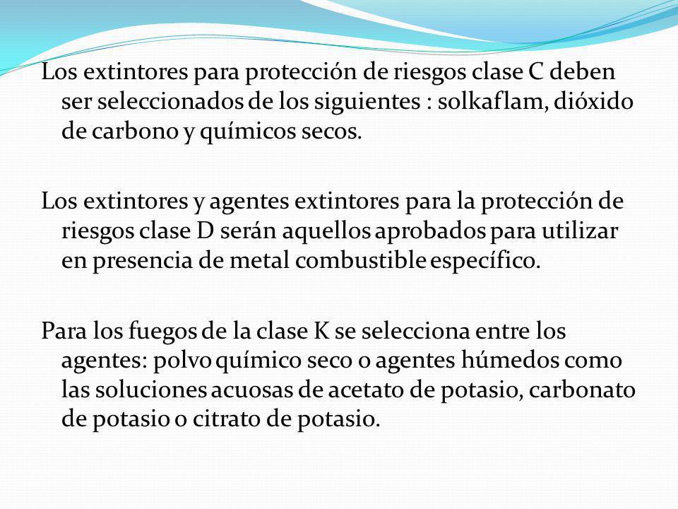 Los extintores para protección de riesgos clase C deben ser seleccionados de los siguientes : solkaflam, dióxido de carbono y químicos secos. Los exti