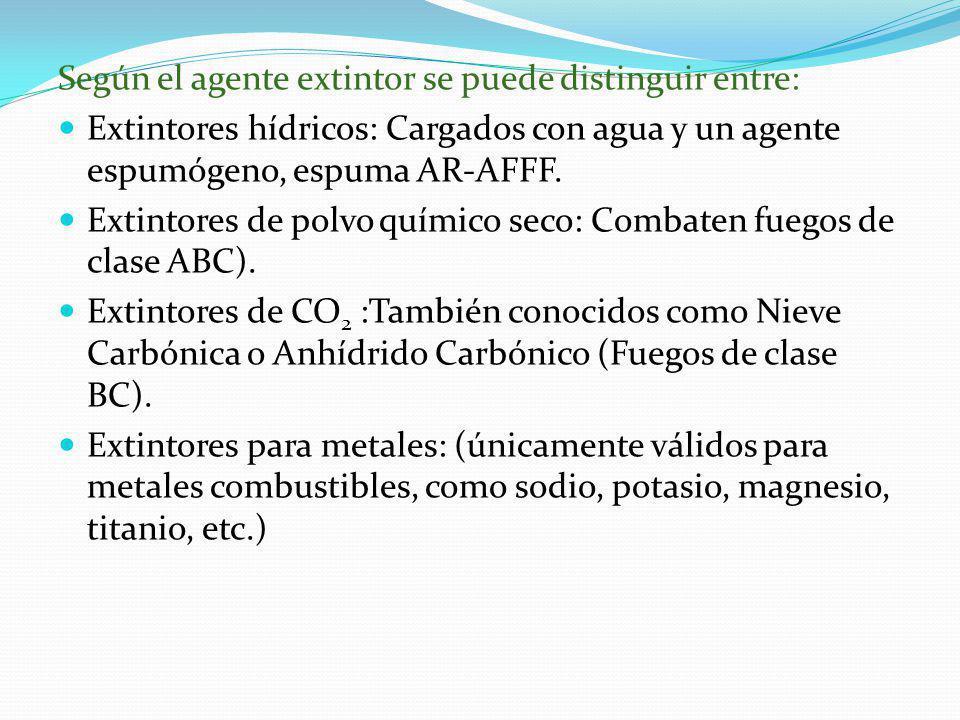Según el agente extintor se puede distinguir entre: Extintores hídricos: Cargados con agua y un agente espumógeno, espuma AR-AFFF. Extintores de polvo