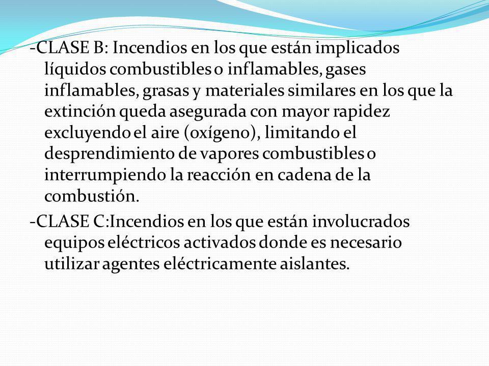 -CLASE B: Incendios en los que están implicados líquidos combustibles o inflamables, gases inflamables, grasas y materiales similares en los que la ex