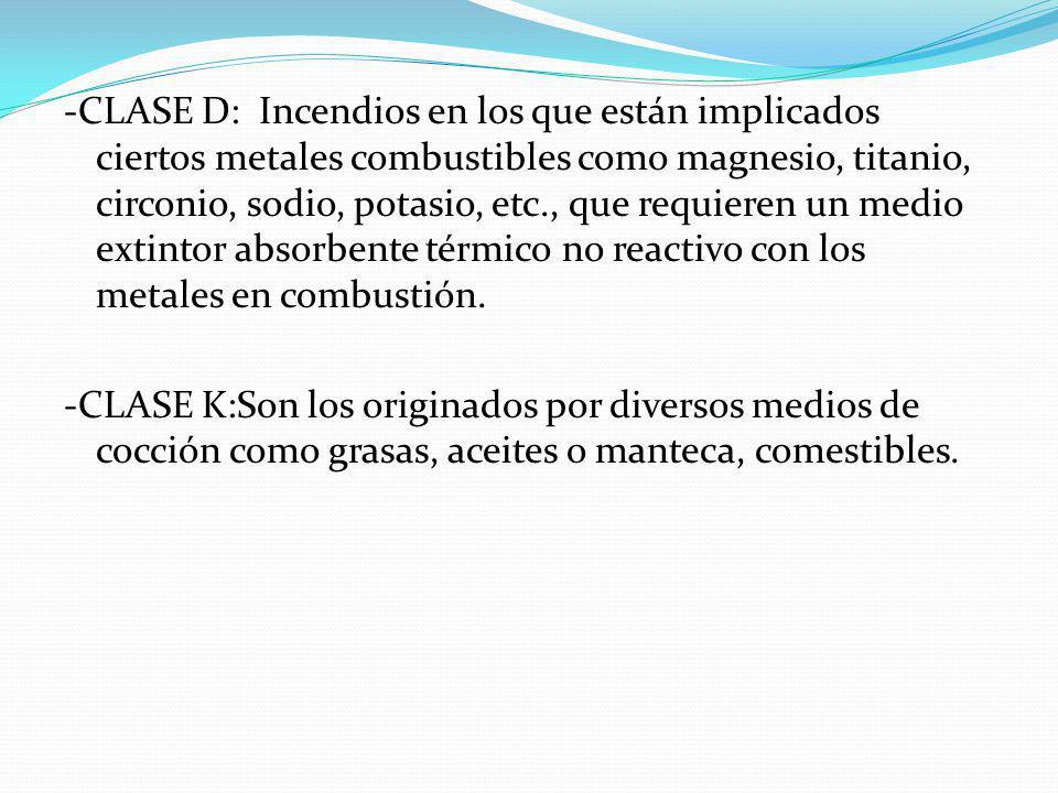 -CLASE D: Incendios en los que están implicados ciertos metales combustibles como magnesio, titanio, circonio, sodio, potasio, etc., que requieren un