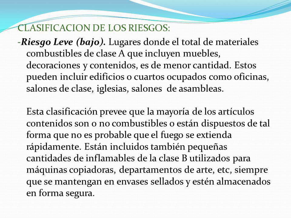 CLASIFICACION DE LOS RIESGOS: -Riesgo Leve (bajo). Lugares donde el total de materiales combustibles de clase A que incluyen muebles, decoraciones y c