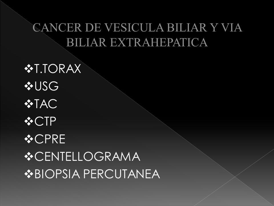CANCER DE VESICULA BILIAR Y VIA BILIAR EXTRAHEPATICA CIRUGIA Etapas I y II coleccistectomía Etapas III y IV colecistectomía + cuña hepática Lobectomía Hepática derecha Disección de ganglios linfáticos regionales Etapas V tratamiento paliativo