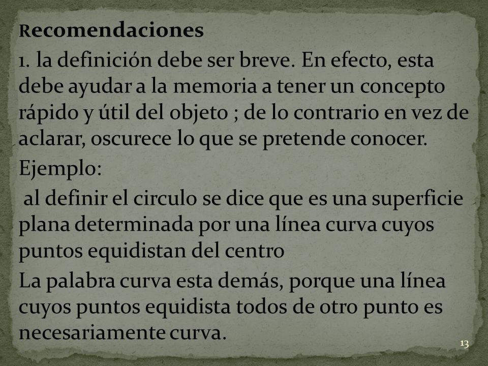 R ecomendaciones 1. la definición debe ser breve. En efecto, esta debe ayudar a la memoria a tener un concepto rápido y útil del objeto ; de lo contra