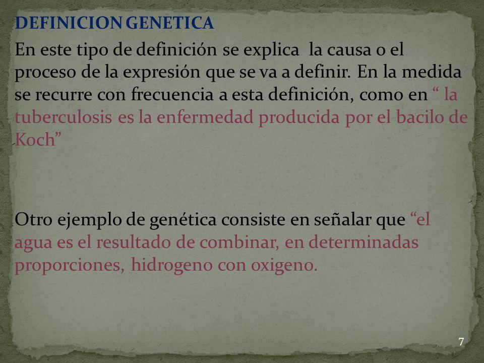 DEFINICION GENETICA En este tipo de definición se explica la causa o el proceso de la expresión que se va a definir. En la medida se recurre con frecu