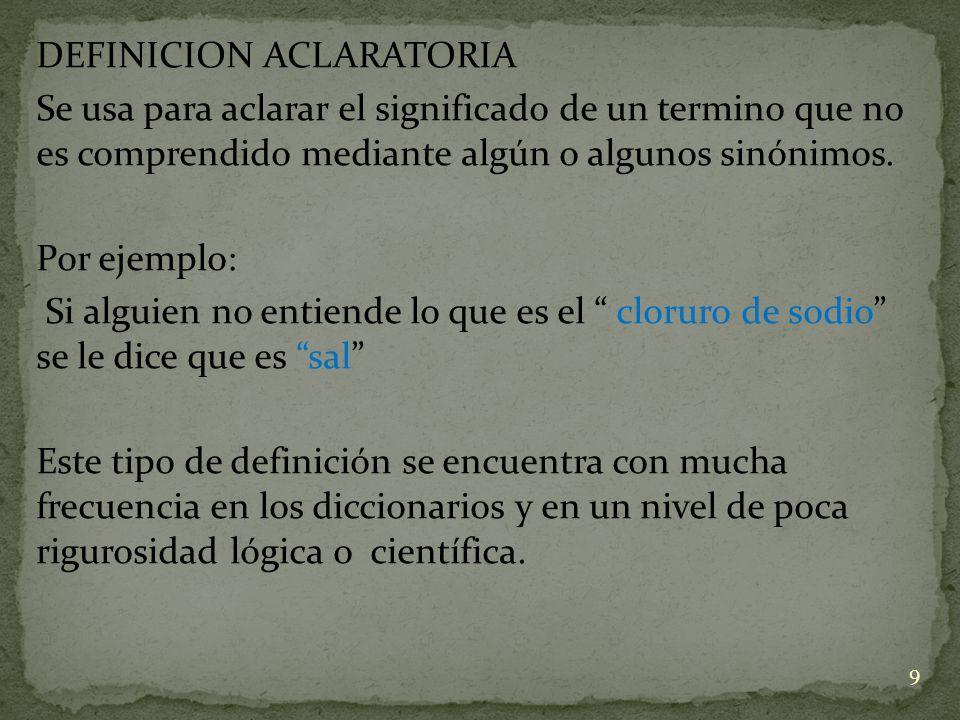 DEFINICION ACLARATORIA Se usa para aclarar el significado de un termino que no es comprendido mediante algún o algunos sinónimos. Por ejemplo: Si algu