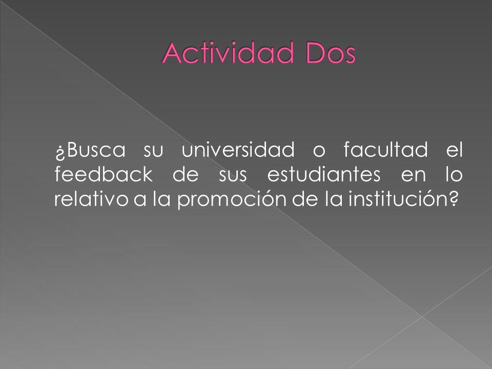 ¿Busca su universidad o facultad el feedback de sus estudiantes en lo relativo a la promoción de la institución?