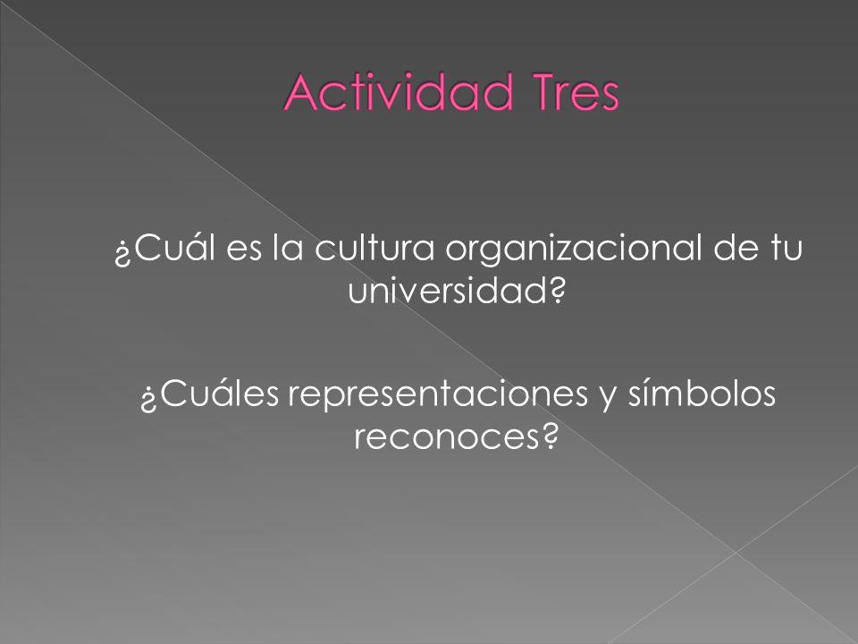 ¿Cuál es la cultura organizacional de tu universidad? ¿Cuáles representaciones y símbolos reconoces?