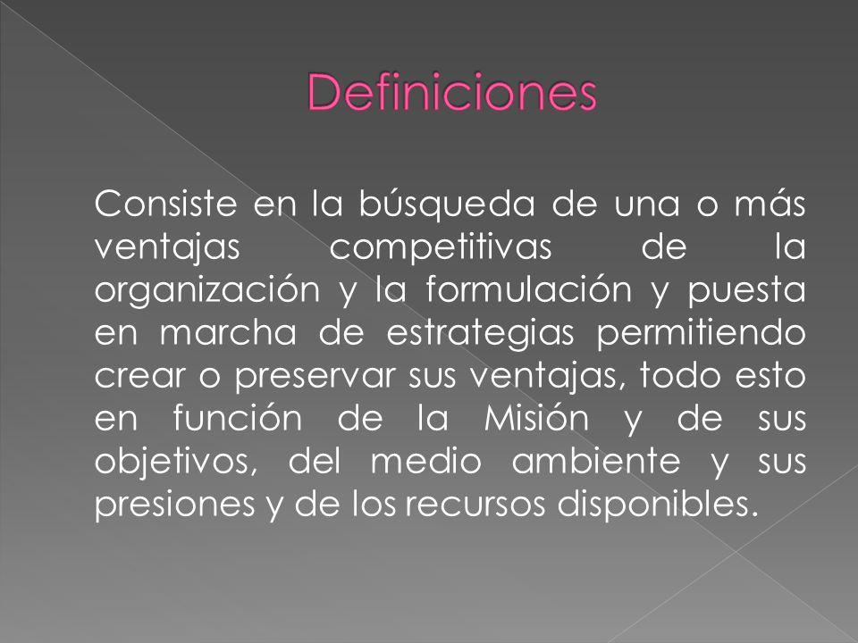 Consiste en la búsqueda de una o más ventajas competitivas de la organización y la formulación y puesta en marcha de estrategias permitiendo crear o preservar sus ventajas, todo esto en función de la Misión y de sus objetivos, del medio ambiente y sus presiones y de los recursos disponibles.