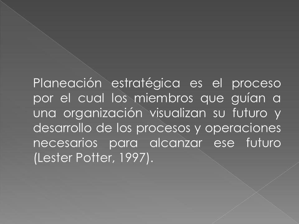 Planeación estratégica es el proceso por el cual los miembros que guían a una organización visualizan su futuro y desarrollo de los procesos y operaci
