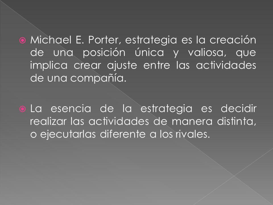 Michael E. Porter, estrategia es la creación de una posición única y valiosa, que implica crear ajuste entre las actividades de una compañía. La esenc