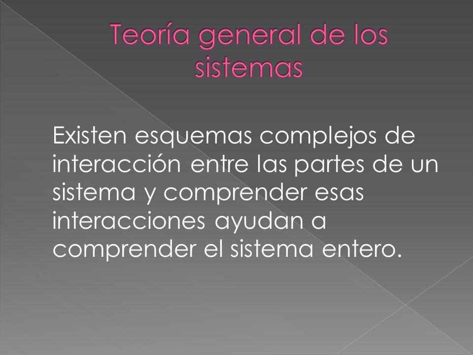 Existen esquemas complejos de interacción entre las partes de un sistema y comprender esas interacciones ayudan a comprender el sistema entero.