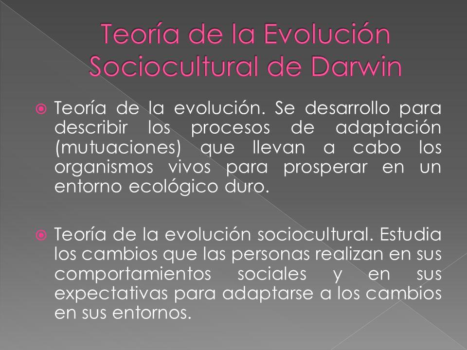 Teoría de la evolución. Se desarrollo para describir los procesos de adaptación (mutuaciones) que llevan a cabo los organismos vivos para prosperar en