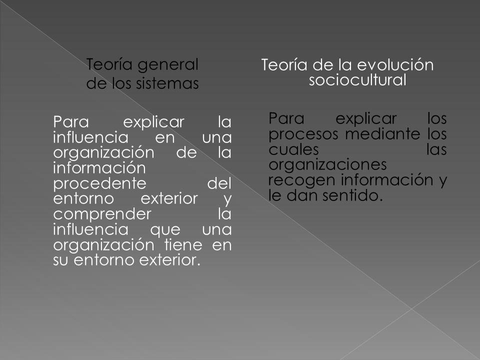 Teoría general de los sistemas Para explicar la influencia en una organización de la información procedente del entorno exterior y comprender la influencia que una organización tiene en su entorno exterior.
