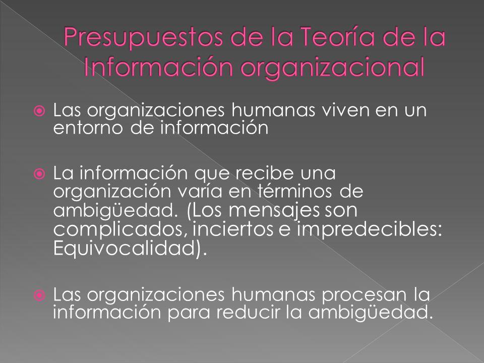 Las organizaciones humanas viven en un entorno de información La información que recibe una organización varía en términos de ambigüedad. ( Los mensaj