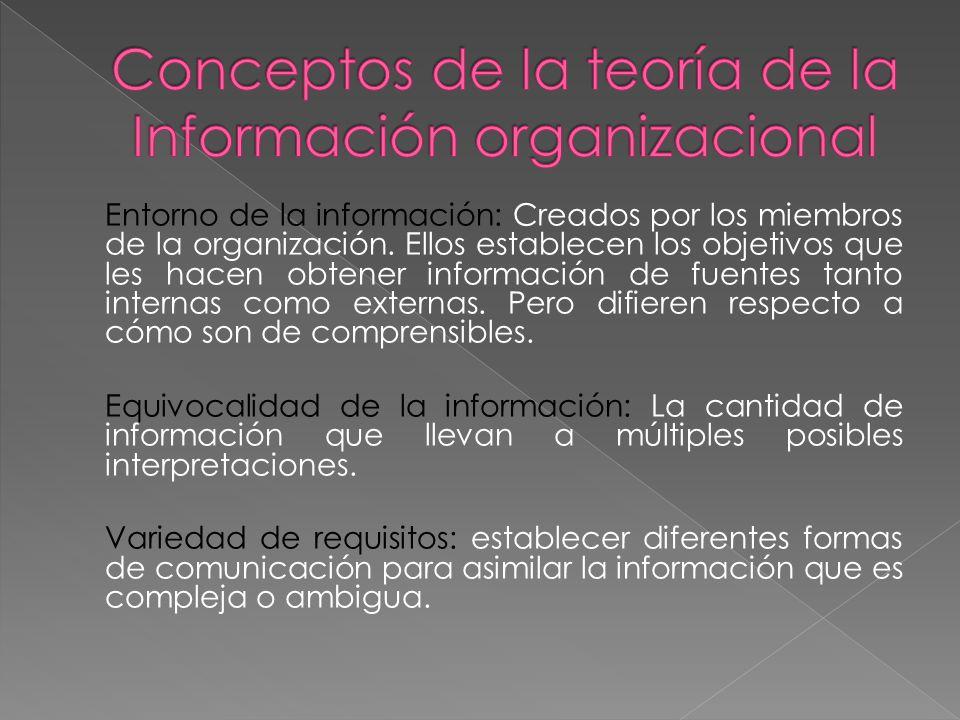 Entorno de la información: Creados por los miembros de la organización. Ellos establecen los objetivos que les hacen obtener información de fuentes ta