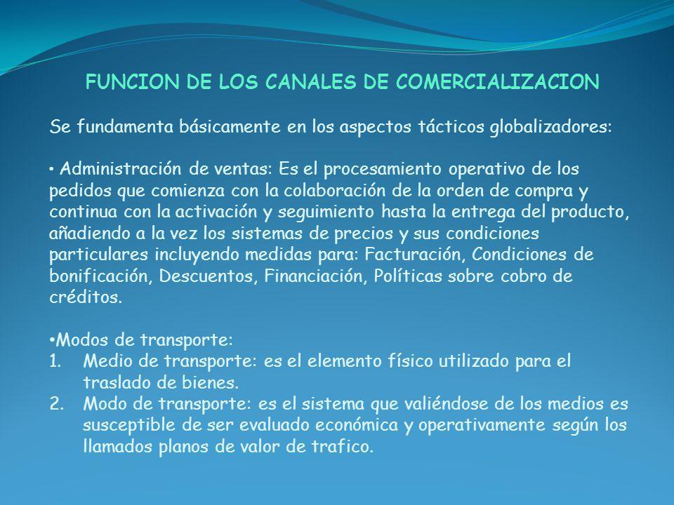 FUNCION DE LOS CANALES DE COMERCIALIZACION Se fundamenta básicamente en los aspectos tácticos globalizadores: Administración de ventas: Es el procesam