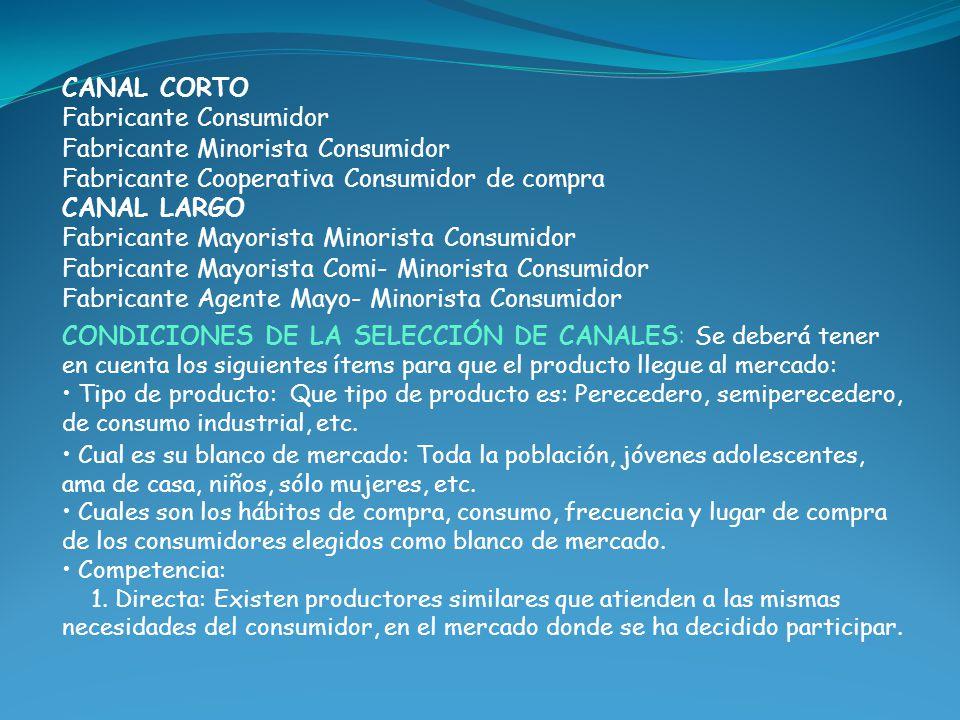 CANAL CORTO Fabricante Consumidor Fabricante Minorista Consumidor Fabricante Cooperativa Consumidor de compra CANAL LARGO Fabricante Mayorista Minoris