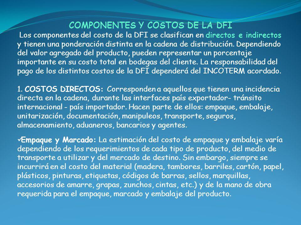 COMPONENTES Y COSTOS DE LA DFI Los componentes del costo de la DFI se clasifican en directos e indirectos y tienen una ponderación distinta en la cade