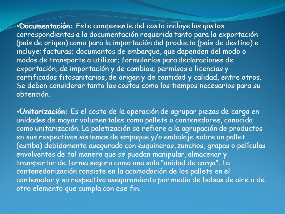 Documentación: Este componente del costo incluye los gastos correspondientes a la documentación requerida tanto para la exportación (país de origen) c