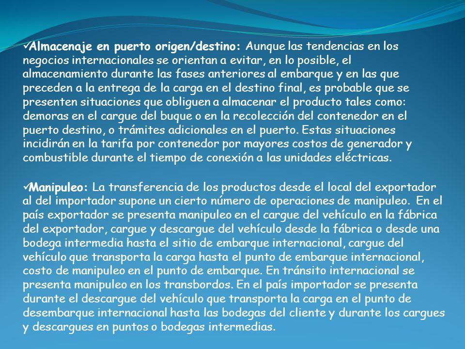 Almacenaje en puerto origen/destino: Aunque las tendencias en los negocios internacionales se orientan a evitar, en lo posible, el almacenamiento dura