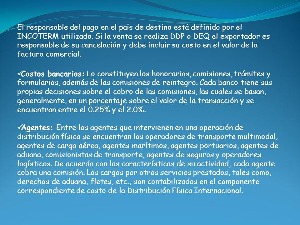 El responsable del pago en el país de destino está definido por el INCOTERM utilizado. Si la venta se realiza DDP o DEQ el exportador es responsable d