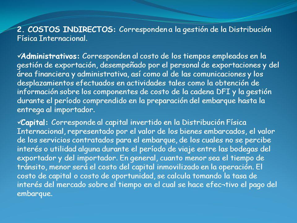 2. COSTOS INDIRECTOS: Corresponden a la gestión de la Distribución Física Internacional. Administrativos: Corresponden al costo de los tiempos emplead