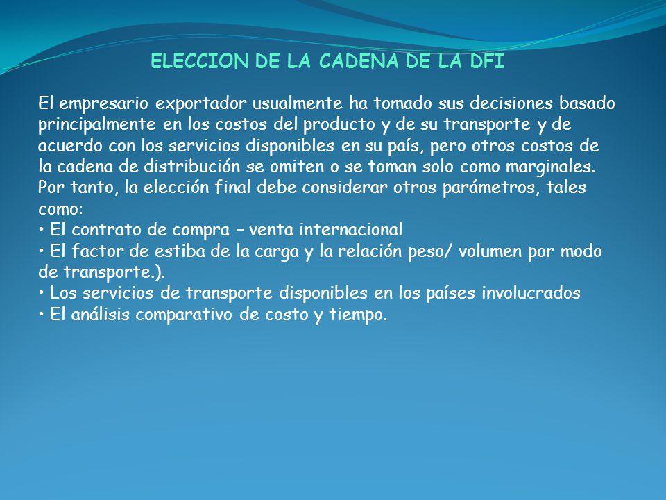 ELECCION DE LA CADENA DE LA DFI El empresario exportador usualmente ha tomado sus decisiones basado principalmente en los costos del producto y de su