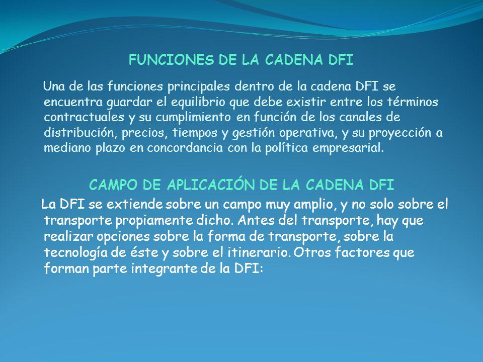 FUNCIONES DE LA CADENA DFI Una de las funciones principales dentro de la cadena DFI se encuentra guardar el equilibrio que debe existir entre los térm
